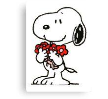 Snoopy Flowers Canvas Print
