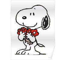 Snoopy Flowers Poster