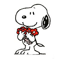 Snoopy Flowers Photographic Print