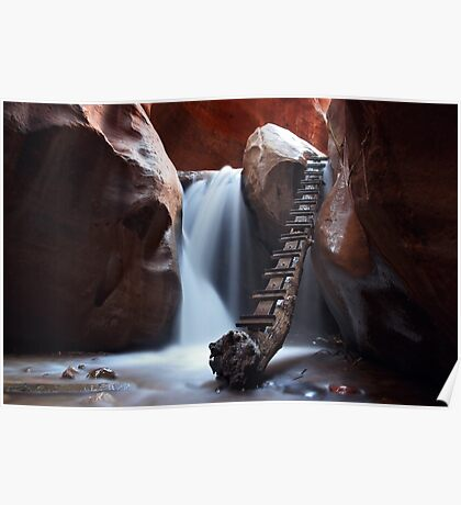 Long Exposure Waterfall Cavern Art Prints and Posters Poster