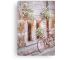 Bike leaning on wall -Shabby Chic Canvas Print