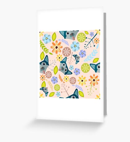 Dog&Flowers pattern Greeting Card