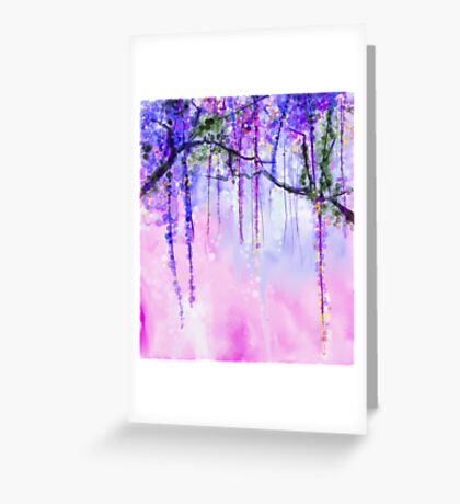 Hanging purple wisteria Greeting Card