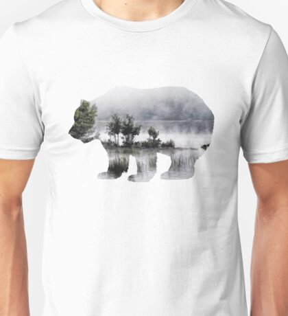 Misty Waterscape Bear Unisex T-Shirt