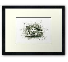 A Cat in a Hat - B & W Framed Print