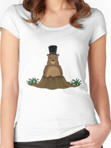 Groundhog day - Cartoon style Women's Fitted Scoop T-Shirt