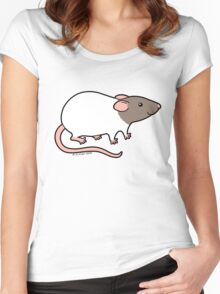 Friendly Hooded Rat - Grey and White Women's Fitted Scoop T-Shirt