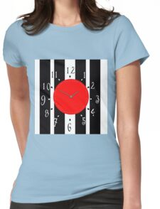 Black and White Clock  Womens Fitted T-Shirt