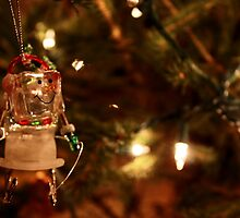 Ice Cube Snowman Ornament on Lit Tree by JupiterHadley