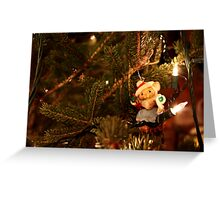 Santa Mouse Ornament on Lit Tree Greeting Card