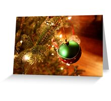 Green Holiday Ornament on Lit  Greeting Card