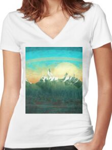 Mountains over the sky - minimalist digital painting Women's Fitted V-Neck T-Shirt