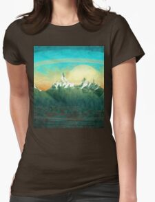 Mountains over the sky - minimalist digital painting Womens Fitted T-Shirt