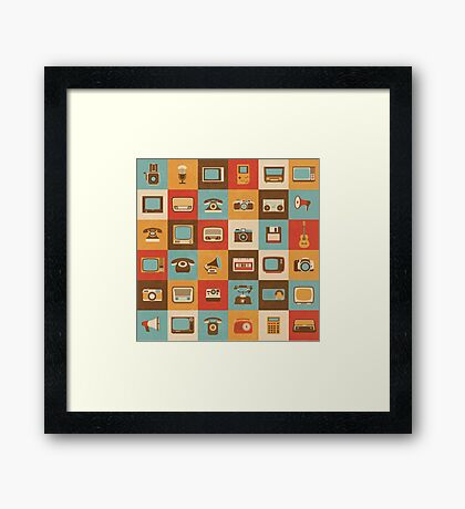 Retro Technology Pattern Framed Print