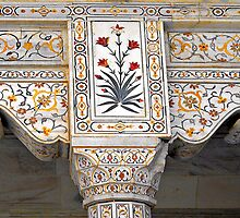 Marble Work at Agra Red Fort  by Ethna Gillespie