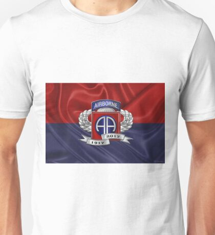 82nd Airborne Division 100th Anniversary Insignia over Division Flag Unisex T-Shirt