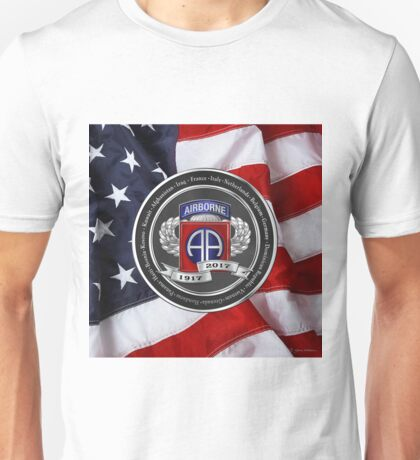 82nd Airborne Division 100th Anniversary Medallion over American Flag Unisex T-Shirt