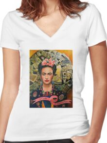 Frida Coyolxauhqui Women's Fitted V-Neck T-Shirt