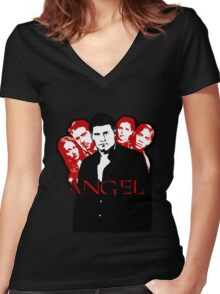 Angel Investigations: Black & Red Women's Fitted V-Neck T-Shirt