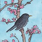 Blackbird in a Blossom Tree by AnnaBaria