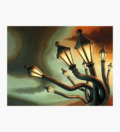 Drunk Streetlamps Photographic Print