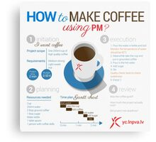 How to make coffee using project management? Square poster Metal Print