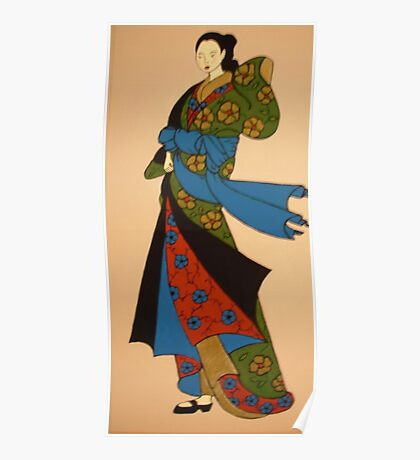 Geisha in blue, red and green Poster