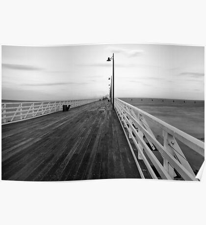 Black and white image of Shorncliffe Pier Poster