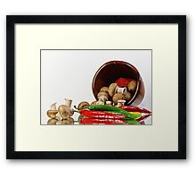 Peppers and Mushrooms Framed Print