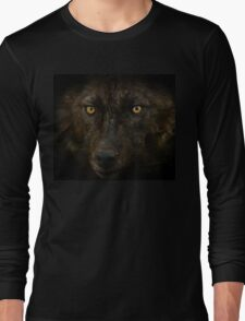 Midnights Gaze - Black Wolf Wild Animal Wildlife Long Sleeve T-Shirt