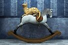 Cat on rocking horse by Roberta Angiolani