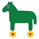 Green Horse, Yellow Wheels by Dyna Moe