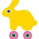 Yellow Rabbit, Pink Wheels by Dyna Moe