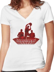 Bulls - Three-Peat Women's Fitted V-Neck T-Shirt