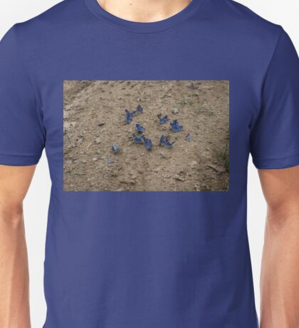 Enchanting Butterflies - Exquisite Sapphire Clusters on the Ground Unisex T-Shirt