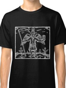 Renaissance Woodcut Grim Reaper Death - White on Dark Classic T-Shirt