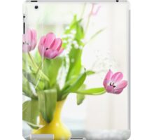 Pink Tulips In Yellow Vase iPad Case/Skin