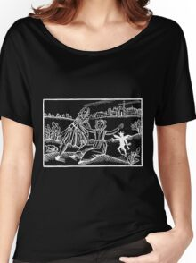 Antique Woodcut Maiden and the Devil - White for Dark Women's Relaxed Fit T-Shirt
