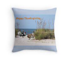 Thanksgiving Card Two Turkeys Throw Pillow