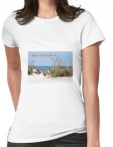 Thanksgiving Card Two Turkeys Womens Fitted T-Shirt