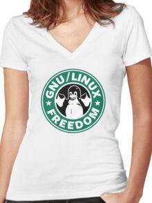 Starbucks GNU Linux Freedom Women's Fitted V-Neck T-Shirt
