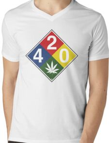 420 Caution Sign Fun Mens V-Neck T-Shirt