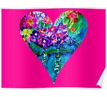 Pink Floral Heart Designer Art Gifts Poster