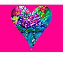 Pink Floral Heart Designer Art Gifts Photographic Print