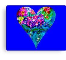 Blue Floral Heart Designer Art Gifts Canvas Print