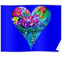 Blue Floral Heart Designer Art Gifts Poster