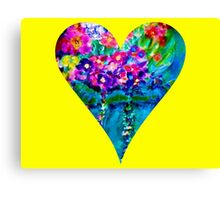 Yellow Floral Heart Designer Art Gifts Canvas Print