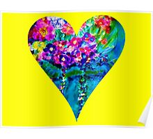 Yellow Floral Heart Designer Art Gifts Poster