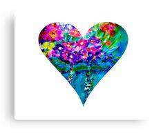 Floral Heart Designer Art Gifts - White Canvas Print