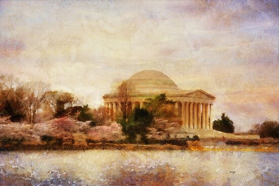 Jefferson Memorial Just Past Dawn by Lois  Bryan